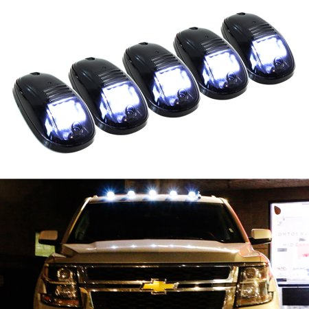iJDMTOY 5pcs White LED Cab Roof Top Marker Running Lights For Truck SUV 4x4 (Black Smoked Lens Lamps)
