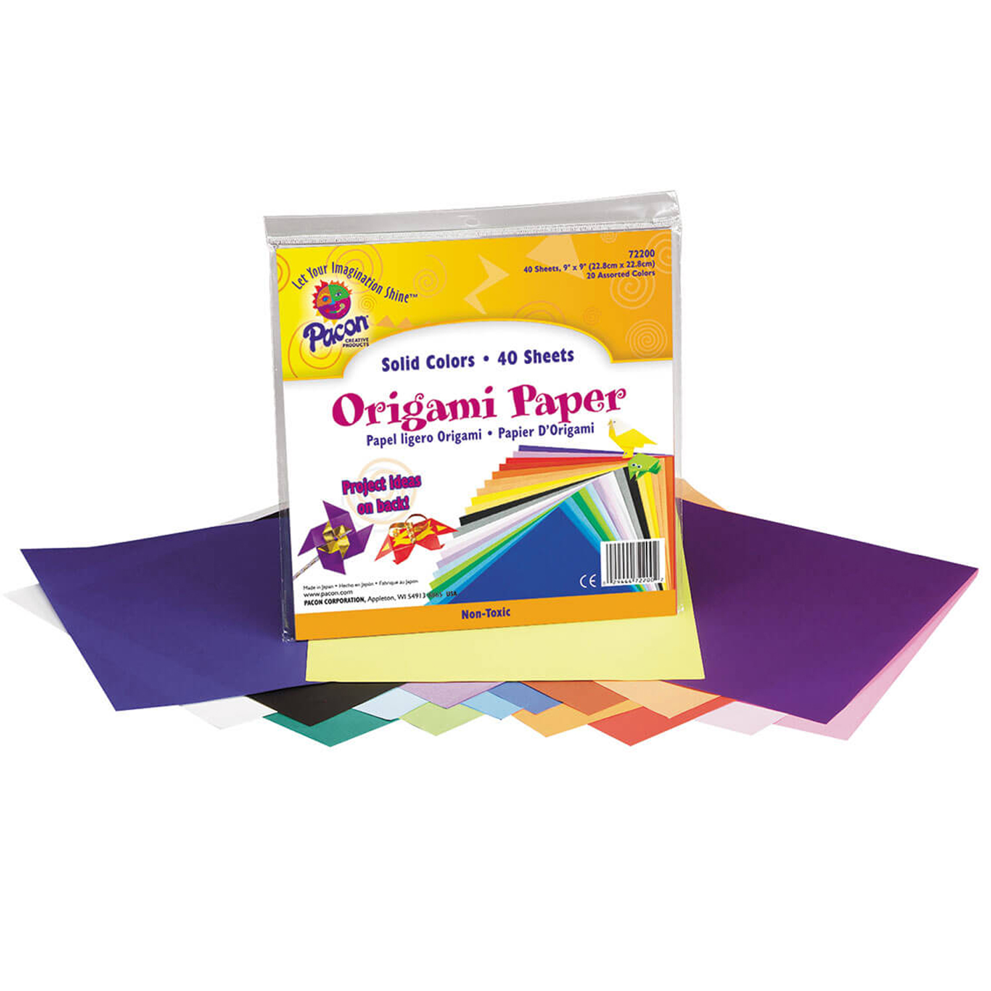 """Pacon® Origami Paper, 9"""" x 9"""", Assorted Colors - 40 Sheets per pack, 2 packs"""