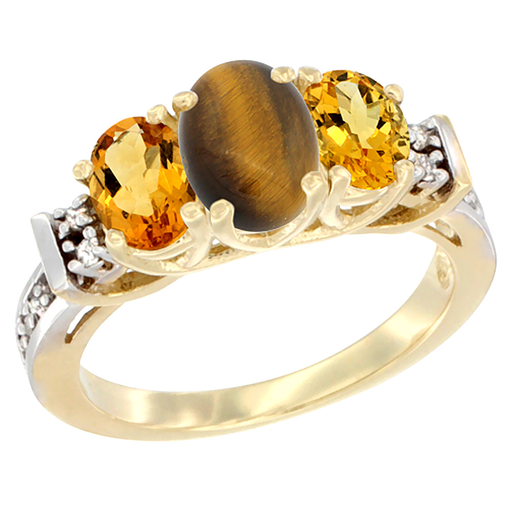 10K Yellow Gold Natural Tiger Eye & Citrine Ring 3-Stone Oval Diamond Accent by WorldJewels