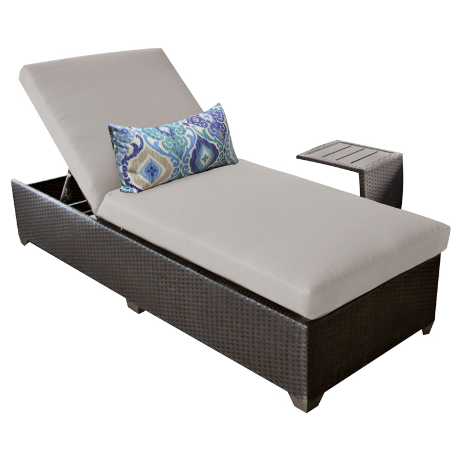 TK Classics Barbados Wicker Patio Chaise Lounge with Optional Side Table