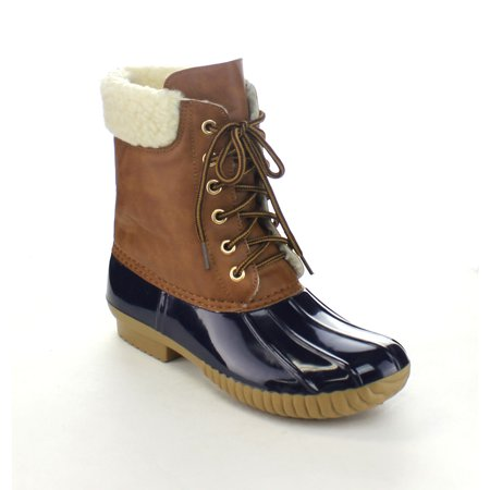 AXNY DYLAN-3 Women's Two Tone Lace Up Ankle Rain Duck Boots Run Half Size - Lace Womens Snowboard Boots