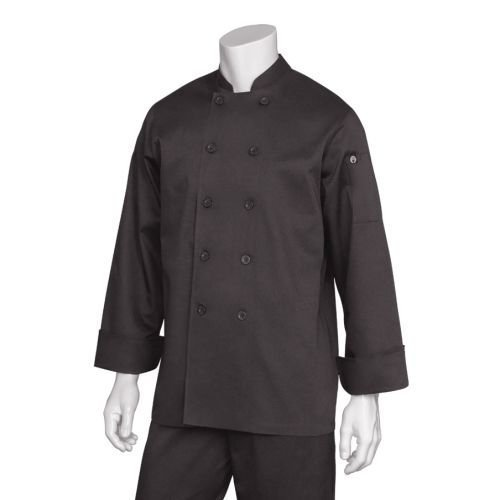 Chef Works Inc Unisex 65 35 Poly Cotton Basic Chef Coat Black, Medium | 1 Each by Chef Works Inc