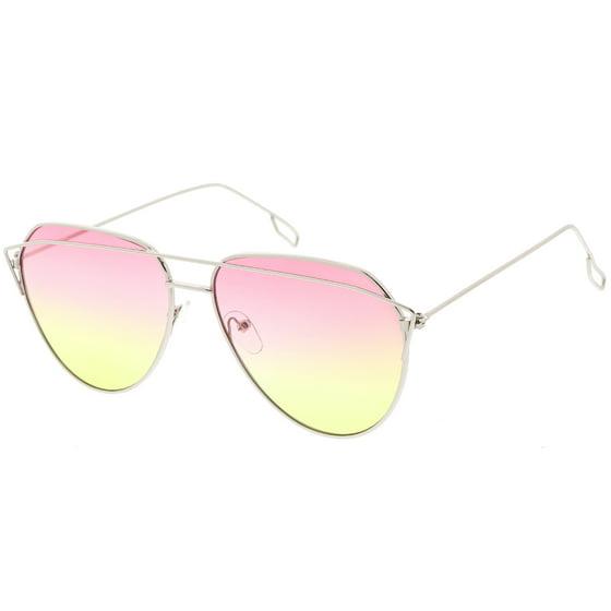 25ee622923 sunglassLA - Modern Aviator Sunglasses Metal Crossbar Slim Arms ...