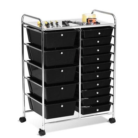 15 Drawer Rolling Organizer Cart, Black Storage Drawers On Wheels