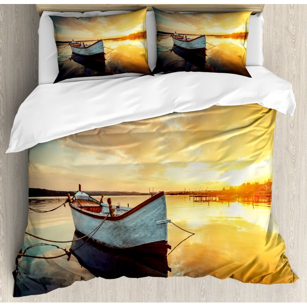 Lake House Duvet Cover Set Small Boat, Lake House Queen Bedding