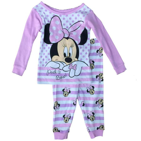 Peek A-boo Mouse (Disney Infant Girls Pink Minnie Mouse Pajamas Cotton Peek A Bow Baby Sleep Set )