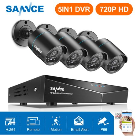 SANNCE 8CH 1080N AHD DVR 4pcs 720P IR outdoor CCTV Home Security System Cameras Surveillance Video kits-No Hard Drive