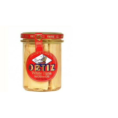 Ortiz Bonito Del Norte White Tuna in Olive Oil, 7.76 oz Glass (Bonito Del Norte Tuna)