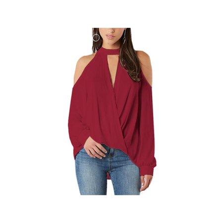 87674682059c67 YOINS - YOINS Women Blouse Crossed Front Design Cold Shoulder V-Neck  Lantern Sleeves Top Burgundy - Walmart.com
