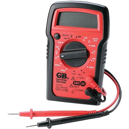 Gardner Bender GDT-3190 Digital Multimeter, 4 Function, 14 Range, Tests AC/DC Voltage, Resistance, and Battery, Manual Ranging, Auto-Off