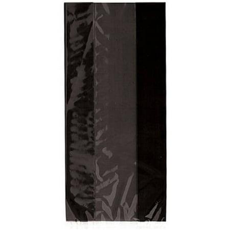 Plastic Cellophane Bags, 11 x 5 in, Black, 30ct