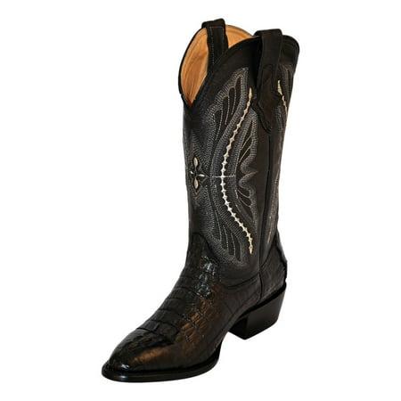 Cognac Caiman Tail - Ferrini Western Boots Mens Cowboy Caiman Tail Croc Black 10311-04