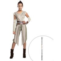 Adult Star Wars The Force Awakens Deluxe Rey Costume and Star Wars The Force Awakens Rey Staff