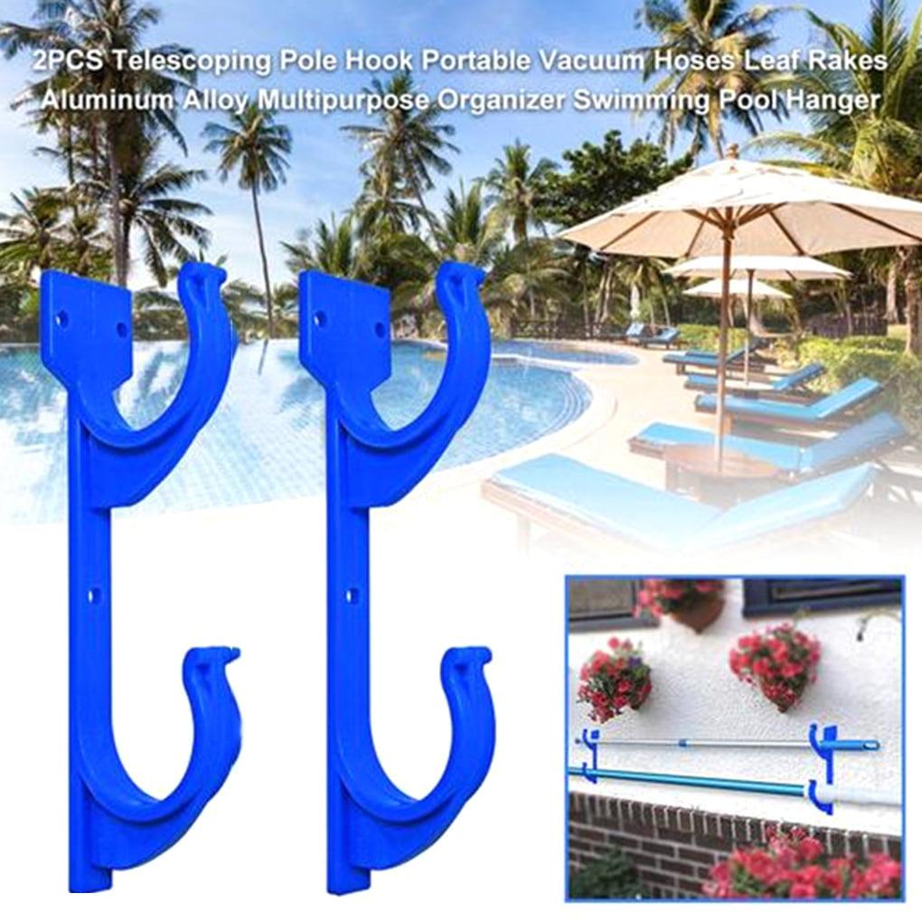 Pool Pole Hanger Aluminum Swimming Pool Brush Hanger Ideal Hooks for Telescopic Poles Leaf Rakes Garden Tools 2 Pcs