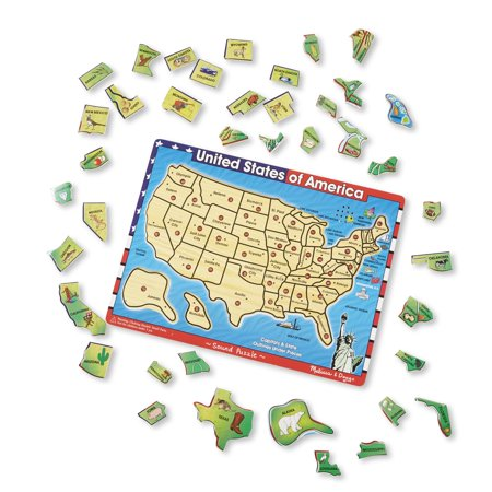 Melissa & Doug Usa Map Sound Puzzle - Wooden Puzzle With