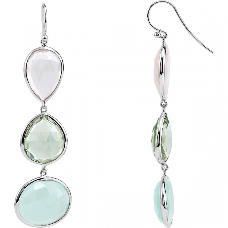 Rose Quartz, Green Quartz and Aqua Blue Chalcedony Earrings 69645   Sterling Silver   Pair   Polished   Multi-Color... by Midwest Jewellery
