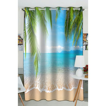 - PHFZK Bule Sea Ocean Window Curtain, Tropical Beach Palm Tree Window Curtain Blackout Curtain For Bedroom living Room Kitchen Room 52x84 inches One Piece