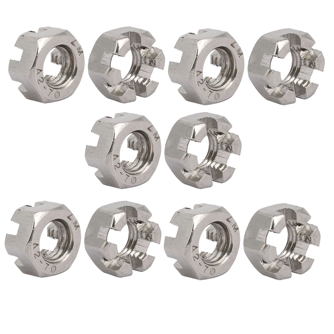 10pcs M10x1.5mm 304 Stainless Steel Hexagon Slotted Castle Nut Silver Tone