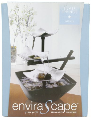 HoMedics WFL-SLVS Envirascape Silver Springs Illuminated Relaxation Fountain with Natural Stones by