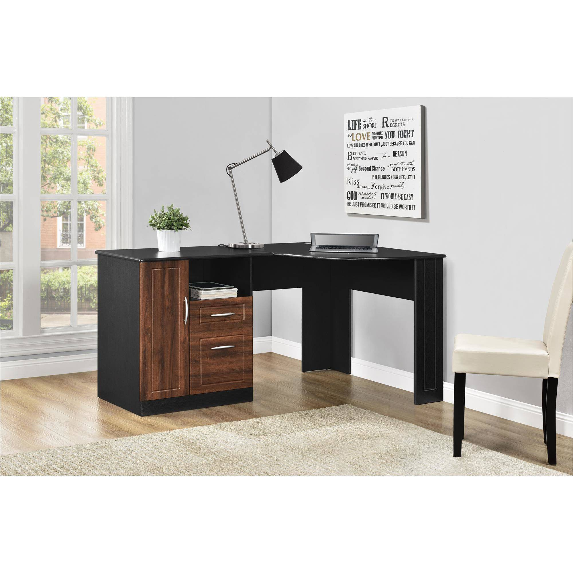 Altra Avalon Corner Desk, Cherry/Black