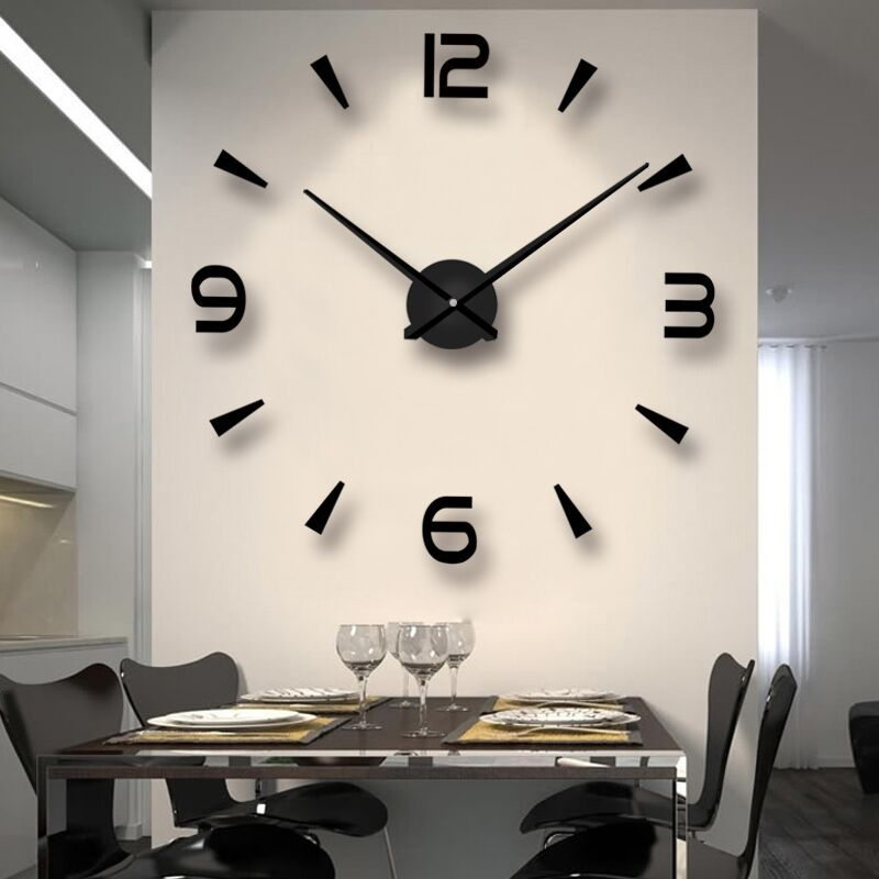 Modern DIY Analog 3D Mirror Surface Large Number Wall Clock Sticker Home