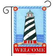 "guiding light summer garden flag welcome lighthouse nautical 12.5"" x 18"""