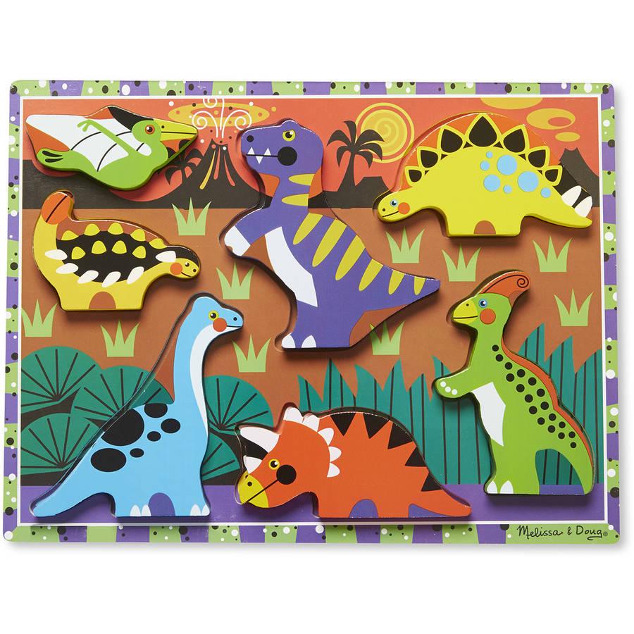 Melissa & Doug Dinosaur Wooden Chunky Puzzle (7 pcs) by Generic