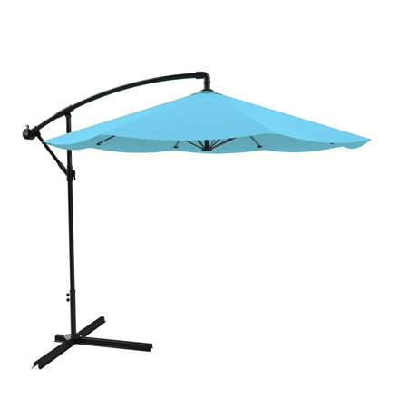 (Patio Umbrella, Cantilever Hanging Outdoor Shade, Easy Crank and Base for Table, Deck, Balcony, Porch, Backyard, Pool 10 Foot by Pure Garden (Blue))