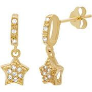Lesa Michele Cubic Zirconia Sterling Silver Dangling Star Earrings