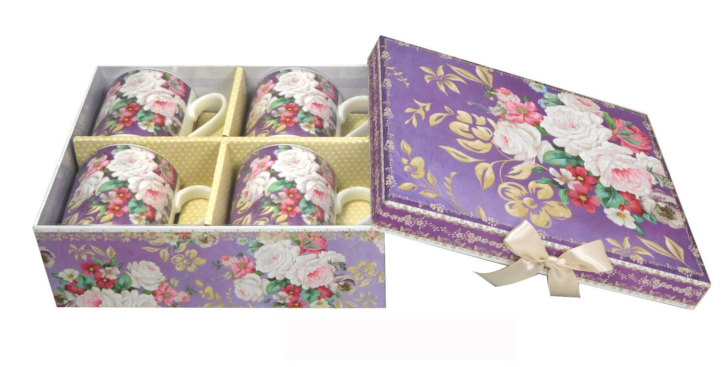 Lightahead Elegant Bone China Coffee 8.5 oz Mug set of 4 in Beautiful Roses Design by Lightahead®