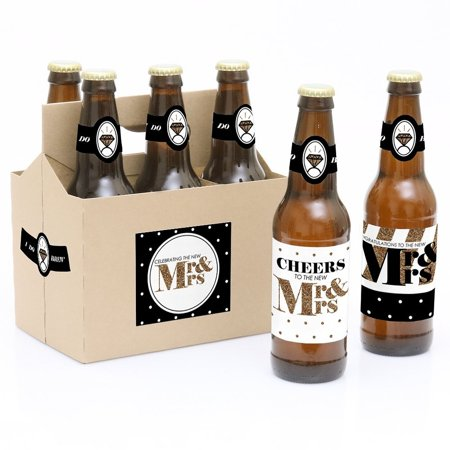 Mr. & Mrs. - Gold - Wedding Party Decorations for Women and Men - 6 Beer Bottle Label Stickers and 1 - Mr Christmas Gold Label Collection