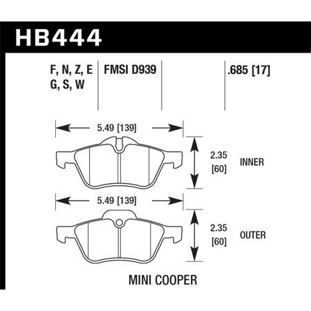 Hawk 02-06 Mini Cooper / Cooper S Performance Ceramic Street Front Brake Pads