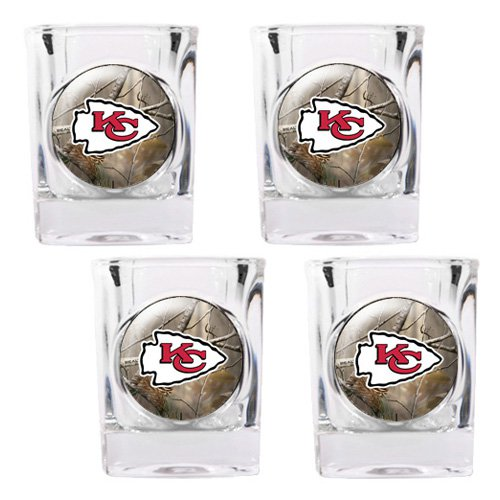 NFL - Kansas City Chiefs Open Field 4pc. Square Shot Glass Set
