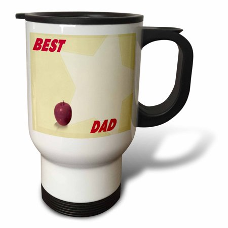 3dRose Red Apple and Star With Best Dad Words, Travel Mug, 14oz, Stainless