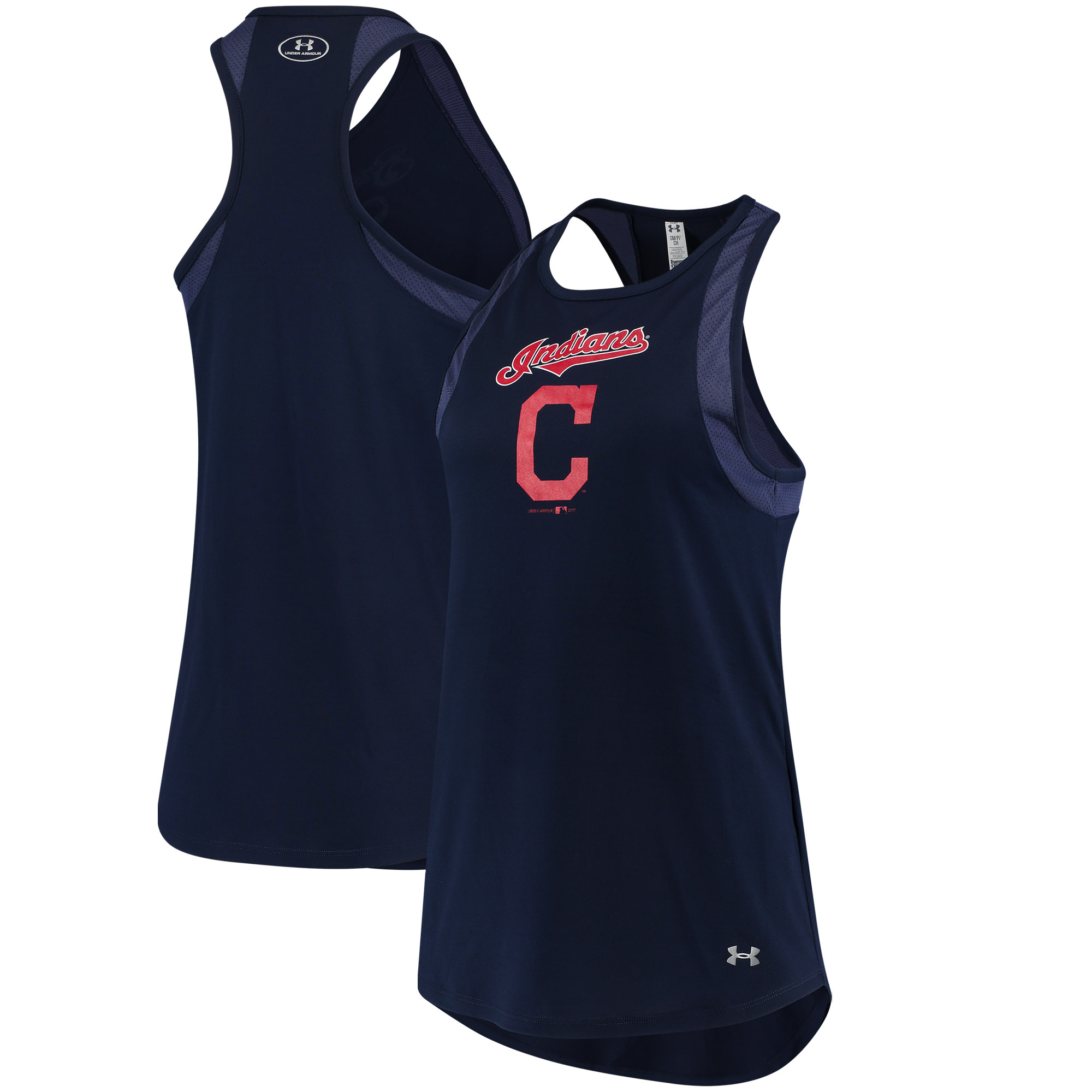 Cleveland Indians Under Armour Women's Pointelle Mesh Performance Tank Top Navy by Gear For Sports/Under Armour