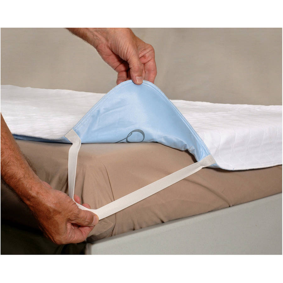 "Quik Sorb™ 36"" x 80"" Quilted Birdseye Hospital Bed Size Reusable Underpad with Elastic Straps"