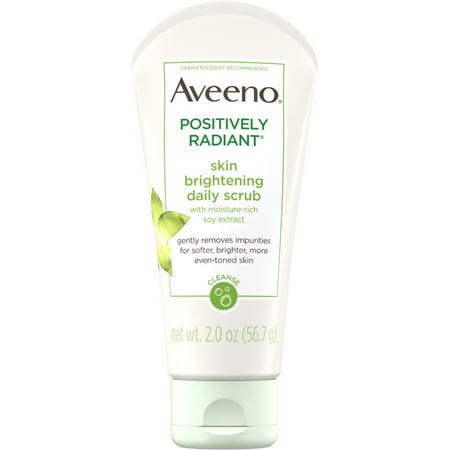 2 Pack - AVEENO Positively Radiant Skin Brightening Exfoliating Daily Facial Scrub with Moisture-Rich Soy Extract,