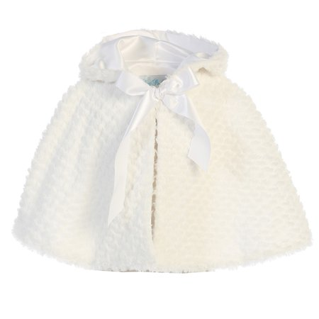 White Hooded Cape (Lito Little Girls White Ribbon Accent Hooded Swirl Texture Faux Fur Cape)