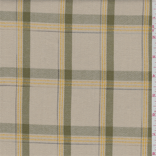 Beige Embroidered Plaid Rayon, Fabric By the Yard