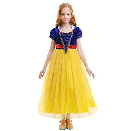 Harley Quinn Fancy Dress Costume (OwlFay Girls Princess Snow White Costume Dress Velvet Sequins Halloween Party Fancy Dress up Cosplay Cartoon Queen Transforming Dress Pageant Long Dresses Gown for Kids Birthday Yellow)