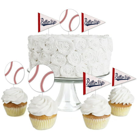 Batter Up - Baseball - Dessert Cupcake Toppers - Baby Shower or Birthday Party Clear Treat Picks - Set of 24 (Batter Up Baseball)