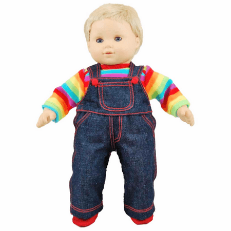 The Queen's Treasures 15 Inch Baby Doll Clothes, Twin 4pc Denim Overalls, Rainbow Shirt, Bitty Shoes. Compatible with 15 Inch American Girl Bitty Baby & Bitty Twins Bitty Baby Doll Clothes