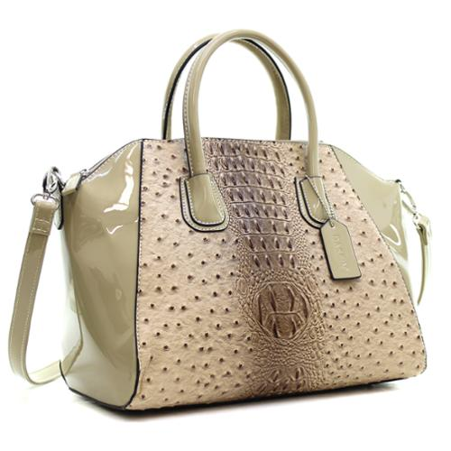 Dasein Ostrich Faux Leather Weekender Satchel with Removable Strap Tan