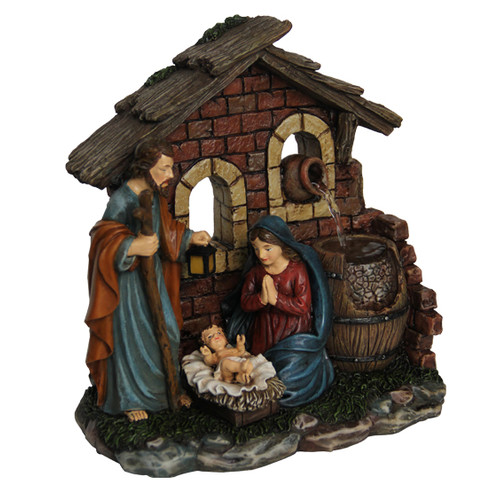 NATIVITY SCENE WITH POURING JUGS FIGURINE