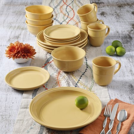 Mainstays Yellow Rainforest 16-Piece Dinnerware Set - Linden 12 Piece