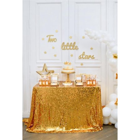 HelloDecor Polyester Fabric 5x7ft Photography Background White and Gold Holiday Party Decoration Two Little Stars Table Cake White Balloon White Wall Interior Decoration Backdrops Camera Prop](Star Wars Table Decorations)
