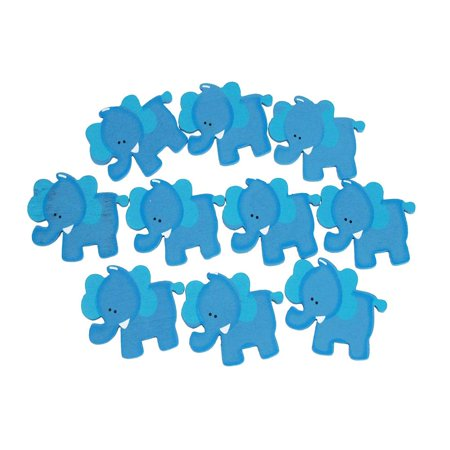 Small Elephant Animal Wooden Baby Favors, 1-1/4-Inch, 10-Piece, Blue