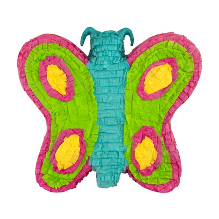 Butterfly Party Pinata, Teal, Pink, & Green, 16in x (Pinata Accessories)