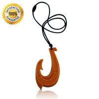 Hawaiian Fish Hook Pendant Silicone Teething Necklace, BPA Free Makau Teether (Wood Design)