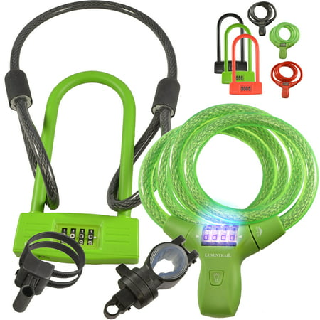 lumintrail bike combination cable lock u lock combo green. Black Bedroom Furniture Sets. Home Design Ideas
